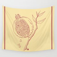 pomegranate Wall Tapestries featuring Golden Pomegranate by Lovedart