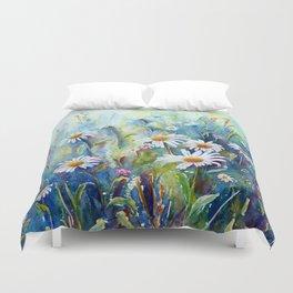Watercolor Daisy Field Duvet Cover