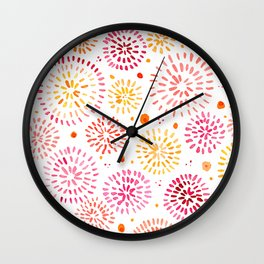Abstract watercolor sparkles – yellow and orange Wall Clock