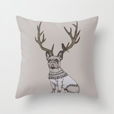 Deer Frenchie  Throw Pillow