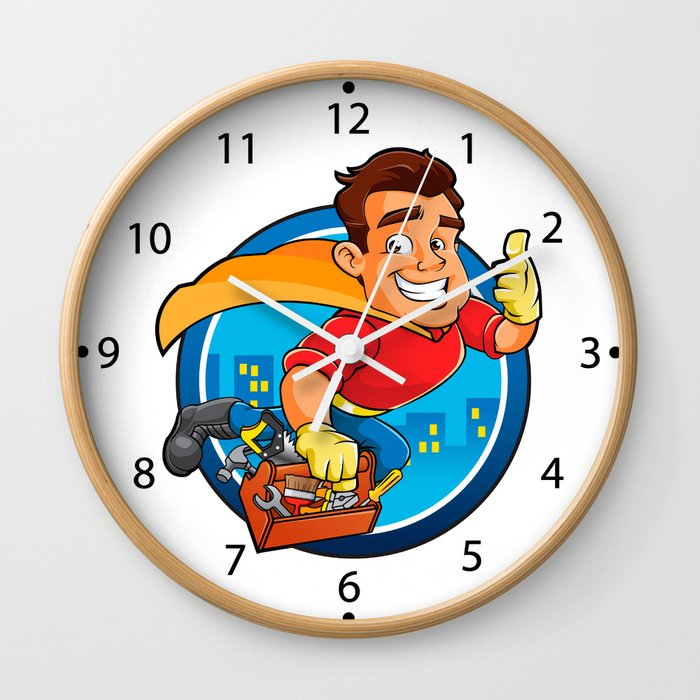 Superhero handyman Wall Clock