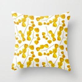 Gold Leaf Art Throw Pillow
