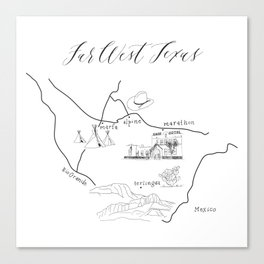 Map of Far West Texas Canvas Print