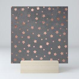Rose gold Christmas stars geometric pattern grey graphite industrial cement concrete Mini Art Print