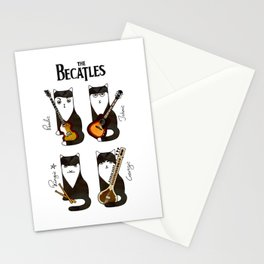 Four cats with guitars for music fans Stationery Cards