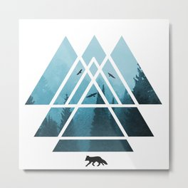 The Courage To Stand Alone - Turquoise Sacred Geometry Triangles Metal Print