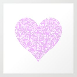 Floral Heart Design Pink and White Art Print