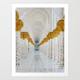 Down the golden white Art Print