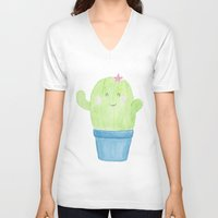 cacti V-neck T-shirts featuring Cute Cacti by belgoldie