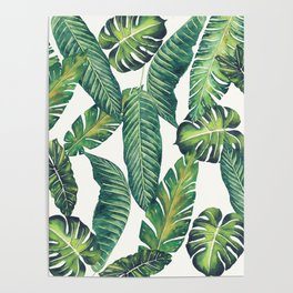 Jungle Leaves, Banana, Monstera II #society6 Poster