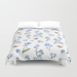 Cute hand painted brown bee lavender watercolor floral Duvet Cover