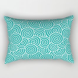 Chinese Spirals | Abstract Waves | Teal and White Rectangular Pillow