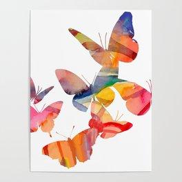 Orange Butterflies Poster