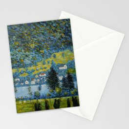 Variegated Blue Alpine Village 'Little Venice' on Lake Attersee in Austrian Alps by Gustav Klimt Stationery Cards