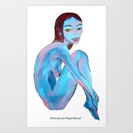 Chica azul por Diego Manuel  Art Print