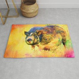 Jazzy Pig Colorful Animal Art by Jai Johnson Rug