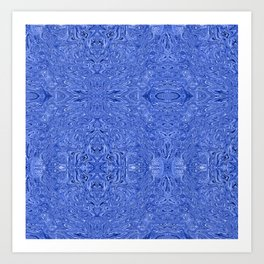 Blue ink swirl Art Print