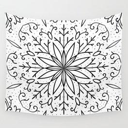 Single Snowflake - White Wall Tapestry