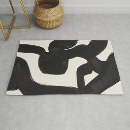 Mid Century Modern Minimalist Abstract Art Brush Strokes Black & White Ink Art Maze Rug