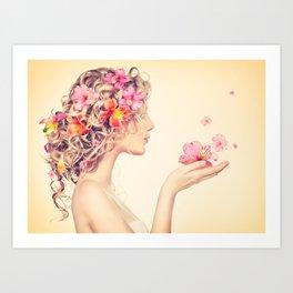 Beautiful girl blows flower. Art Print