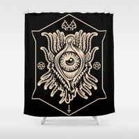 all seeing eye Shower Curtains featuring All Seeing Eye by girlxboy