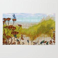 Plaid Beachscape with Dragonflies Rug