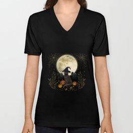 The Black Cat on Halloween Night Unisex V-Neck