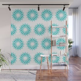Turquoise Modern Sunbursts Wall Mural