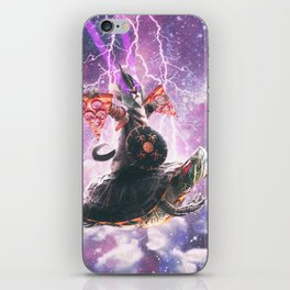Lazer Warrior Space Cat Riding Turtle With Pizza iPhone Skin