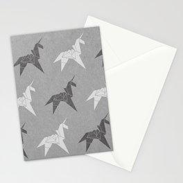 Origami Unicorn Grey Stationery Cards