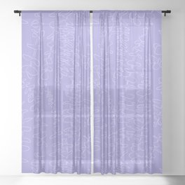 Round Eucalyptus Leaf Toss in Lavender Sheer Curtain