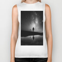 Finland and Galaxy (Black and White) Biker Tank