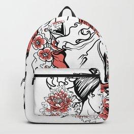 Geisha Flowers and Kanji Backpack