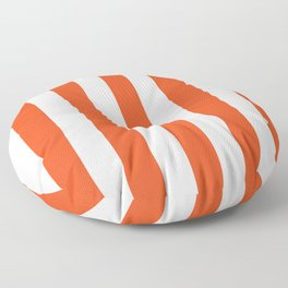 Microsoft red orange - solid color - white vertical lines pattern Floor Pillow