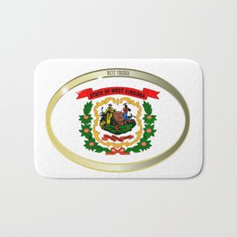 West Virginia State Flag Oval Button Bath Mat