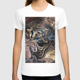Marble Paint Swirl Trendy Abstract Glitter Rose Gold Pink Teal Turquoise T-shirt