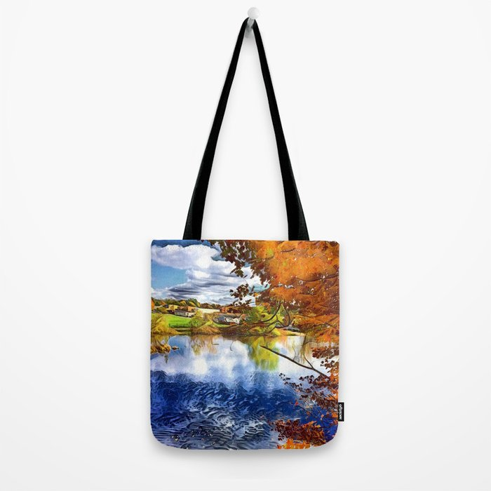 Romantic Fall River Town Nature View Tote Bag