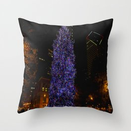 The Tree and the Tower (Chicago Christmas/Holiday Collection) Throw Pillow