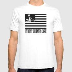 i trust johnny cash White MEDIUM Mens Fitted Tee