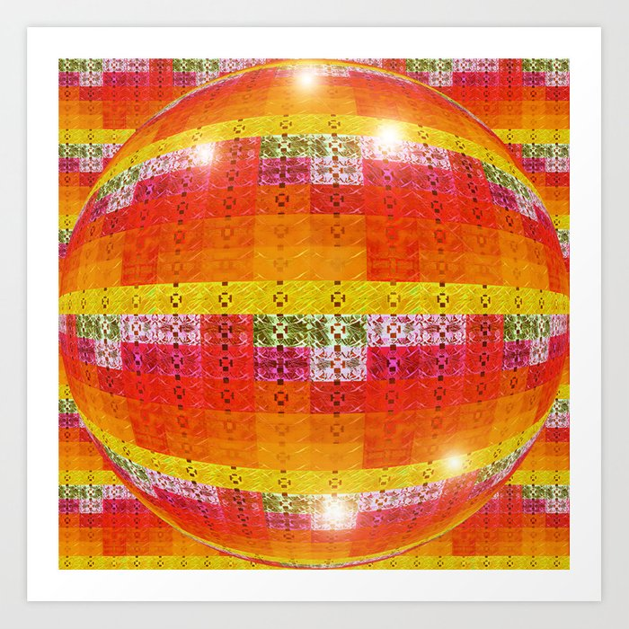 High Definition Retro Disco Ball Orange Pattern Art Print By Amazing Pattern Art Definition