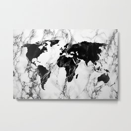 marble world map I Metal Print