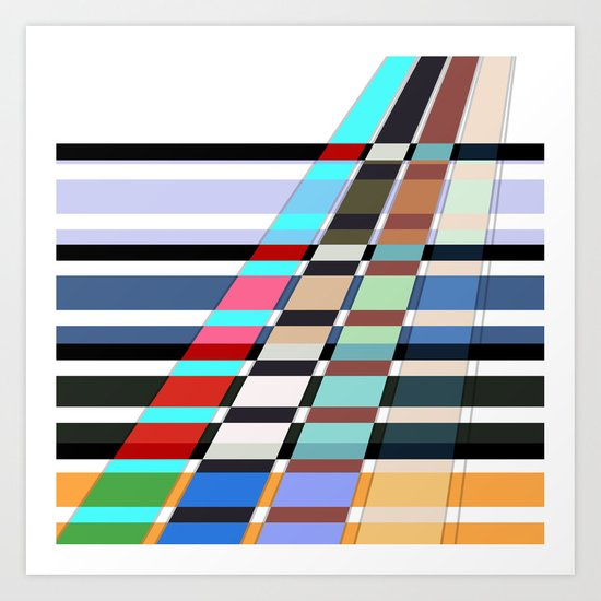 Colorful oblique lines . Abstract pattern 2 . Art Print