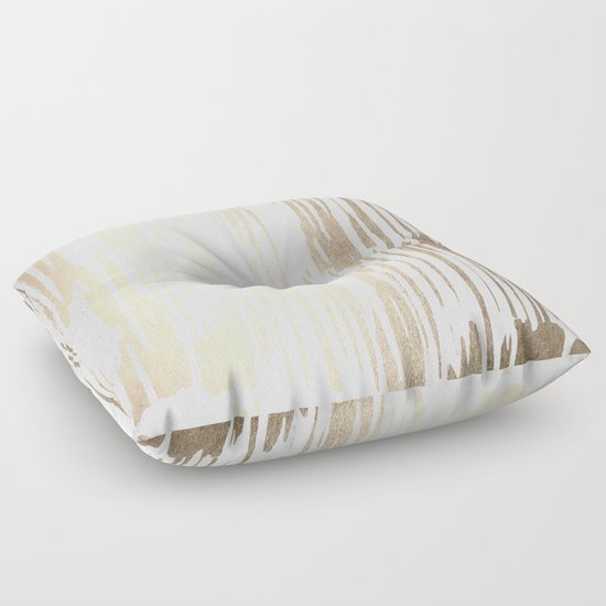 White Gold Sands Thin Bamboo Stripes Floor Pillow by Simple Luxe Society6