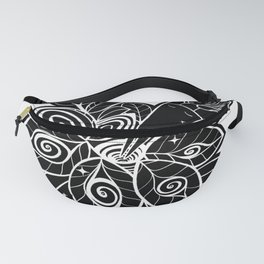 Plant love. Surrealistic mysterious black and white illustration with a hypnotic plant and a girl. Stylish picture Fanny Pack
