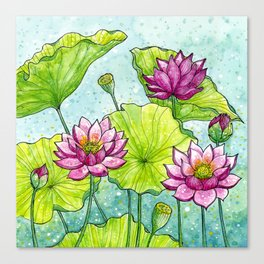 Lotus Flowers Illustration | Hand Drawn | Pink, Green and Blue Canvas Print