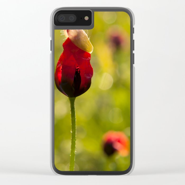 Poppy Flower Floral Blossom  in a field Clear iPhone Case