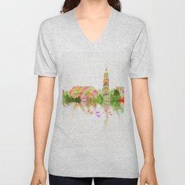 Colorful Harvard University Skyline Unisex V-Neck