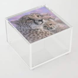 Cheetah Mother and Cubs - Mothers Love Acrylic Box