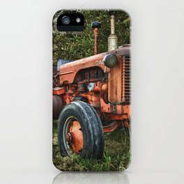 Vintage old red tractor iPhone Case