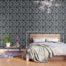 Silver Gray / Grey Peacock Feathers on Dark Gray Wallpaper